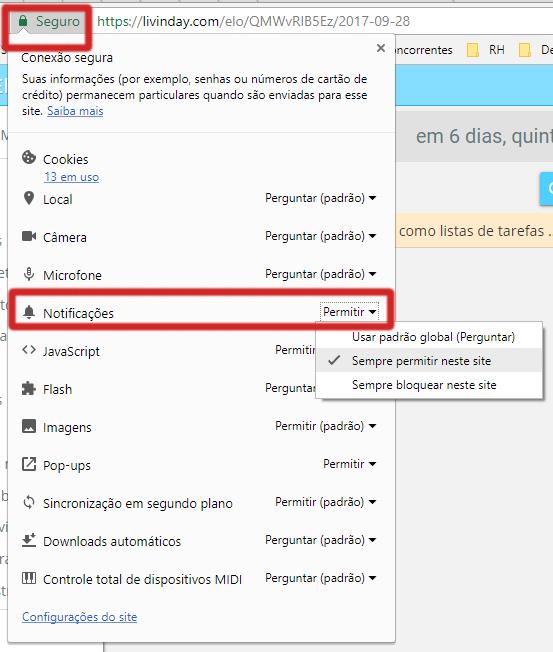 Alterar notificação desktop