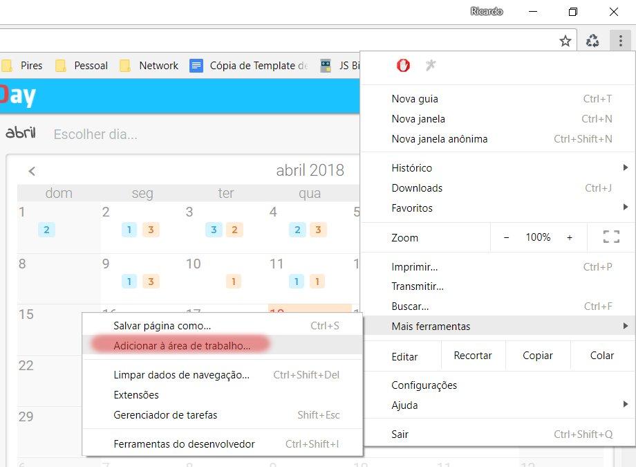 Adicionar à área de trabalho com o Chrome