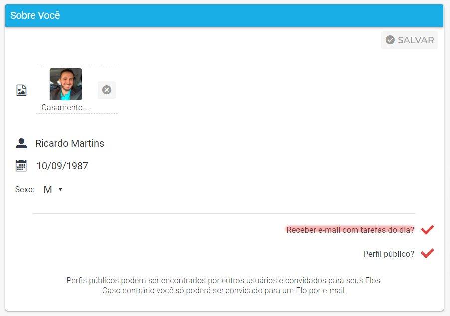 Configurar e-mail diário no perfil